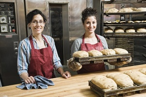 Female bakers working at a bakery